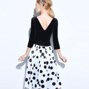 MoDa New York Dresses - Deep V Velvet ColorBlock Polka Dot Dress